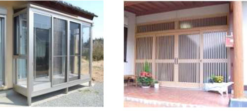 サンルーム工事と玄関引き戸工事
